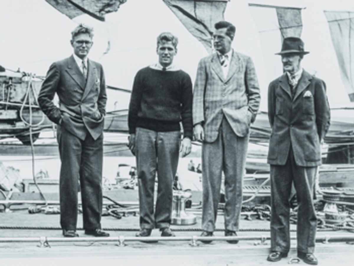 (From left) Olin and Rod Stephens, Harold S. Vanderbilt and Starling Burgess aboard the legendary J Class yacht Ranger.