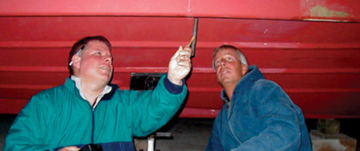 A sounding hammer and moisture meter are among the tools Group (left) uses for surveying.