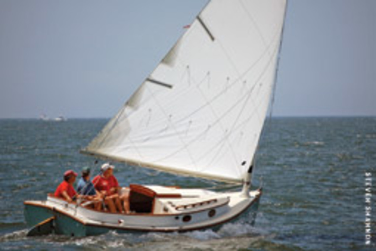 Geoff Masrshall of Marshall Marine in South Dartmouth, Mass., has brought back his father Breck's Sanderling catboat design with a new-and-improved cockpit.