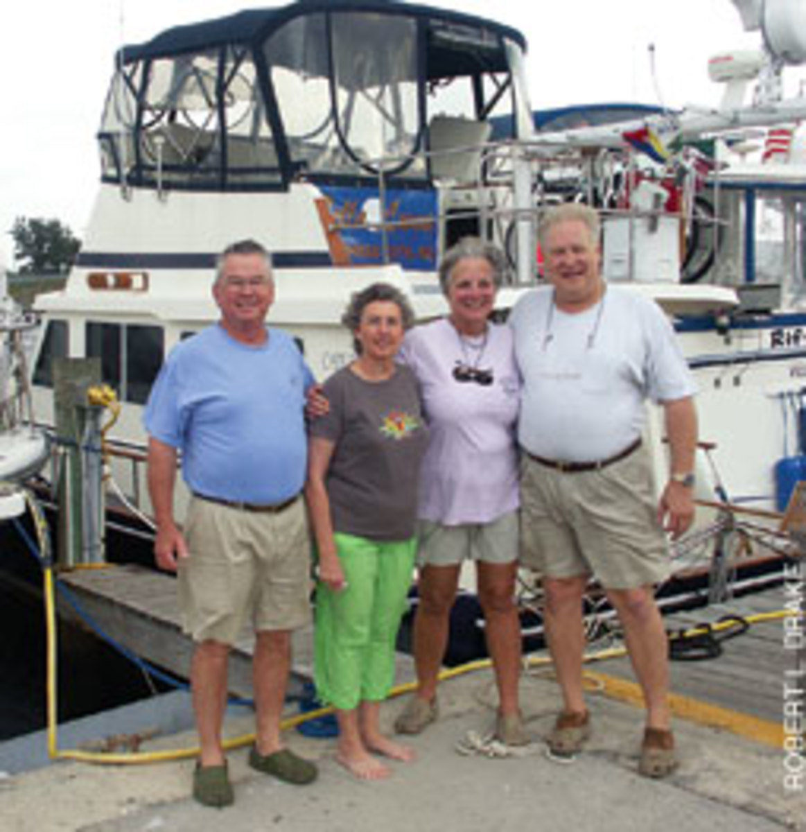 Louis and Diane Wade (right) have cruised thousands of miles on the Great Loop with Robert and Kay Creech.
