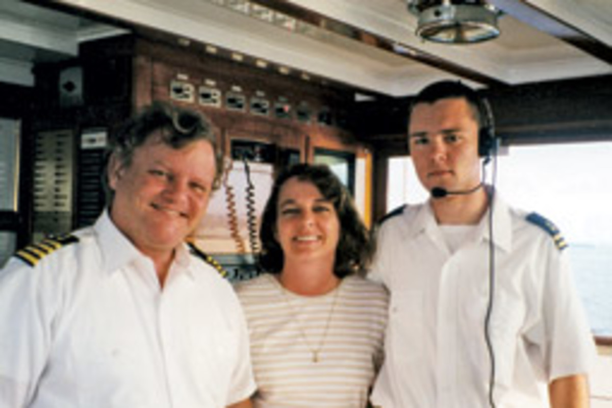Dan Wilson, his wife Kathy, and their son, Will, aboard USS Sequoia during the summer of 1999. Wilson captained the historic presidential vessel during the Reagan years.