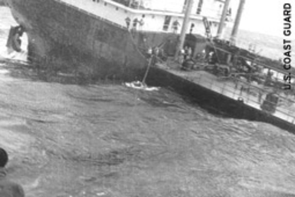 Twenty minutes after Yakutat rescued four men form the bow, the tanker turned keel upward and sank into the sea.