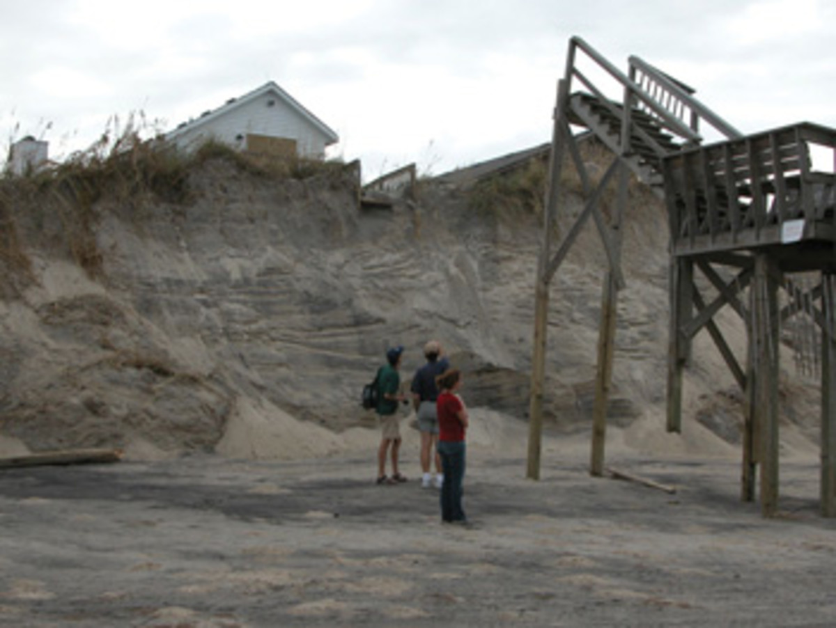 Storm surge and waves during Hurricane Isabel in 2003 caused severe dune erosion in Nags Head, North Carolina.