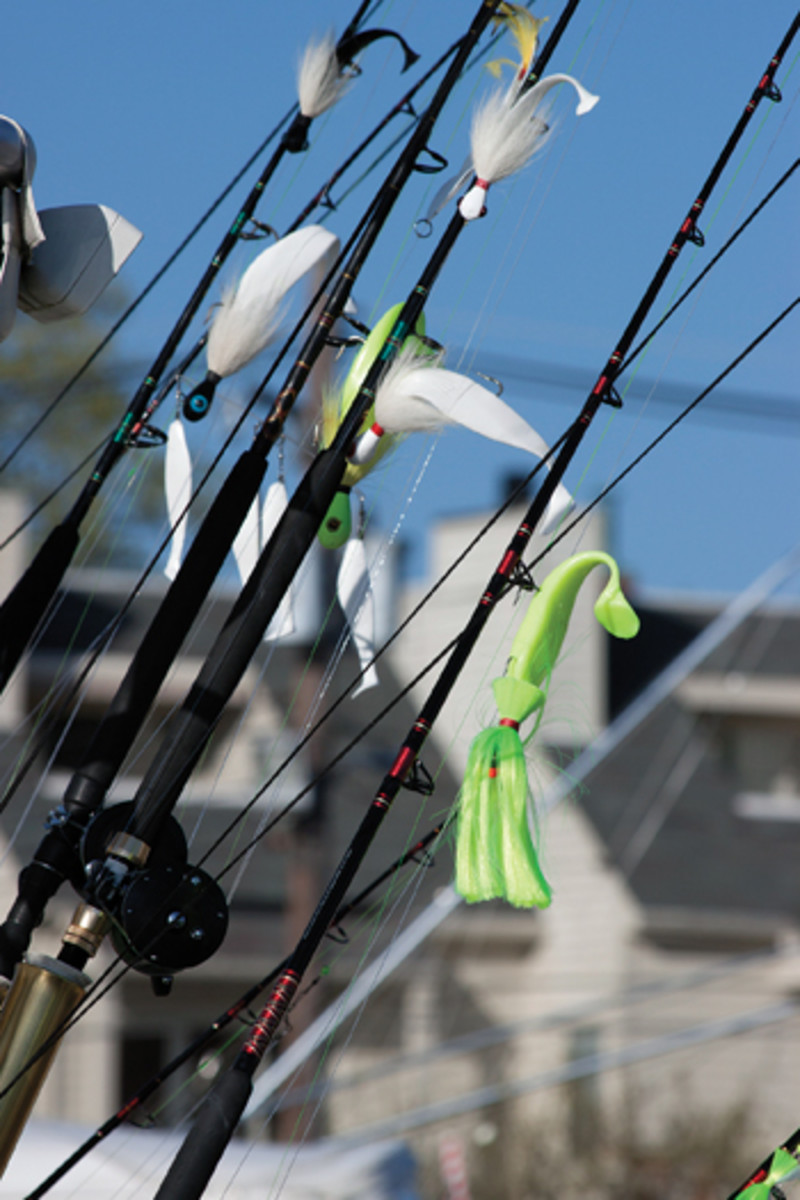 Trolling tackle for spring striper season demands an arsenal of umbrella rigs, bucktails, parachutes, tandem rigs and large spoons.