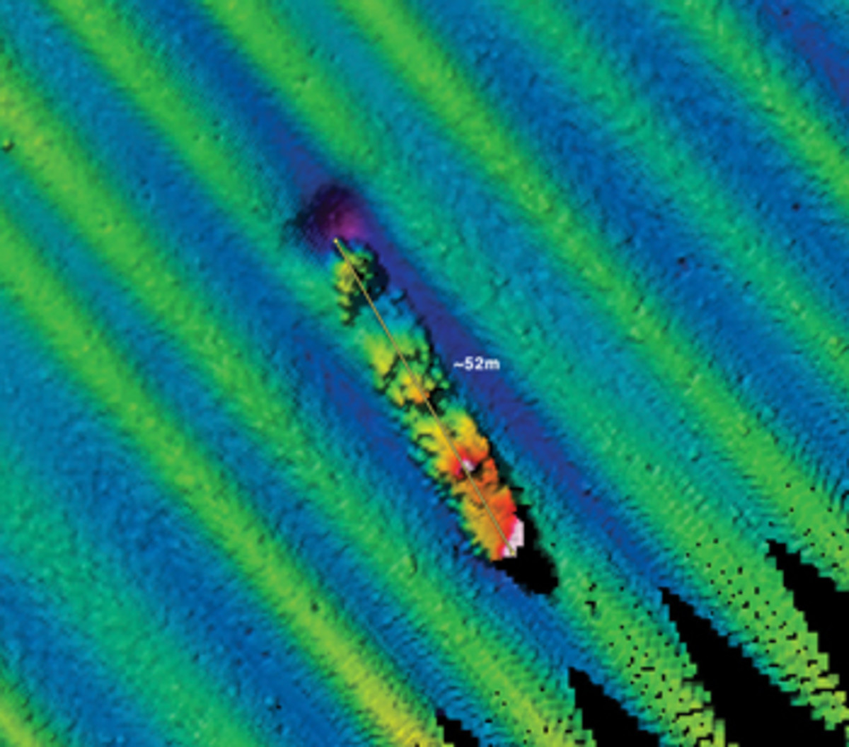 This multibeam sonar image shows the wreck site of the Navy tug off Southeast Farallon.