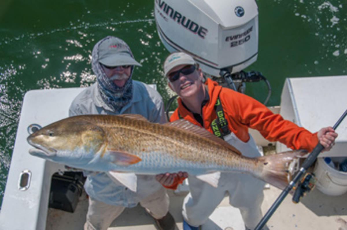 This redfish was fooled by a bucktail from a spinning rod.