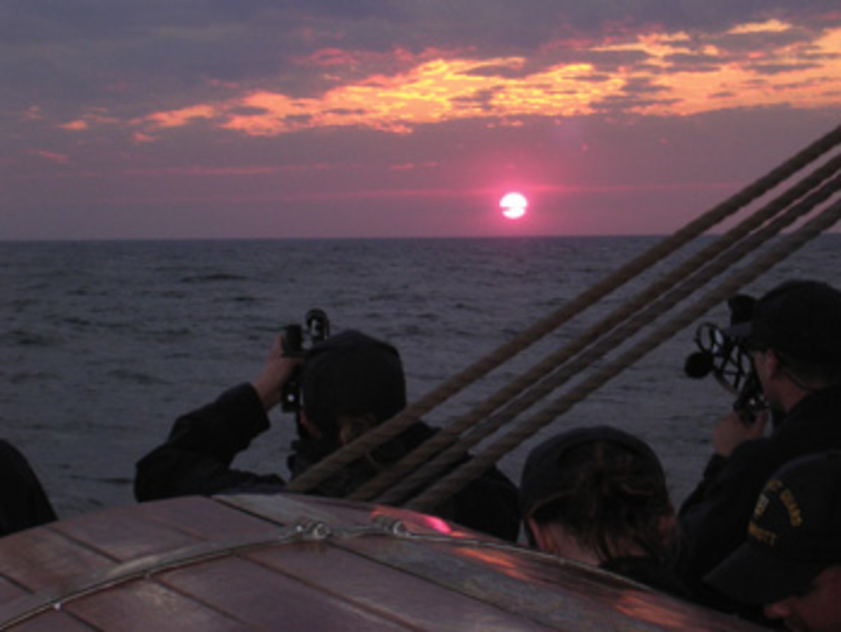 A sextant sighting is taken at sunset.