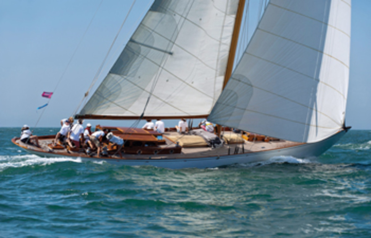 The Blue Peter, here sailing in the 2015 Opera House Cup off Nantucket, raced on the Caribbean circuit this past winter and spring.