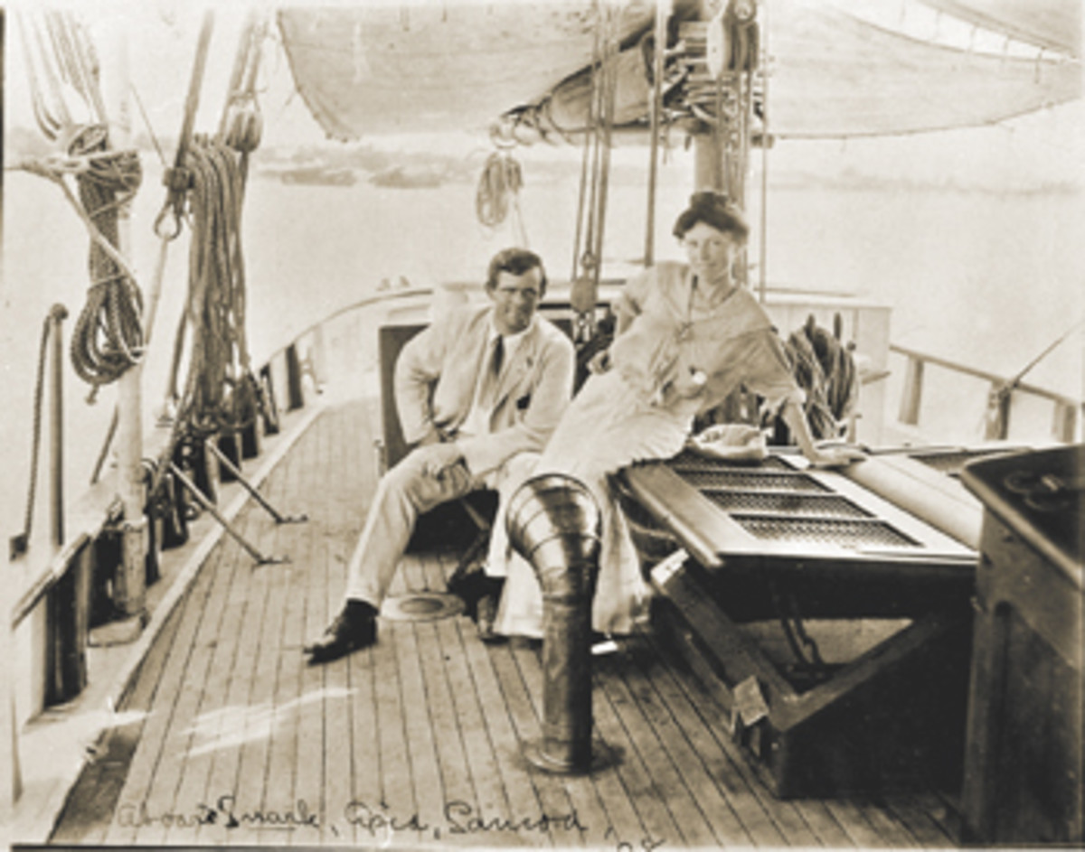 Jack London and his wife aboard their 43-foot ketch, Snark. Only her bell has survived.