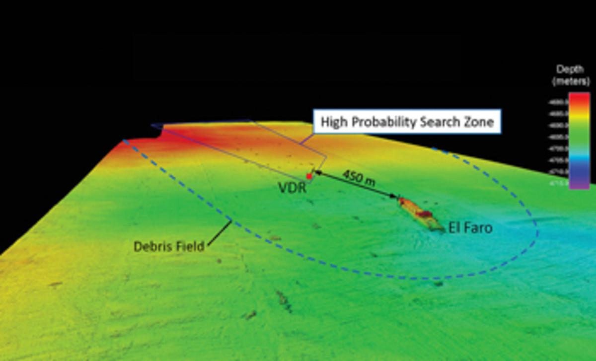El Faro wreckage map.