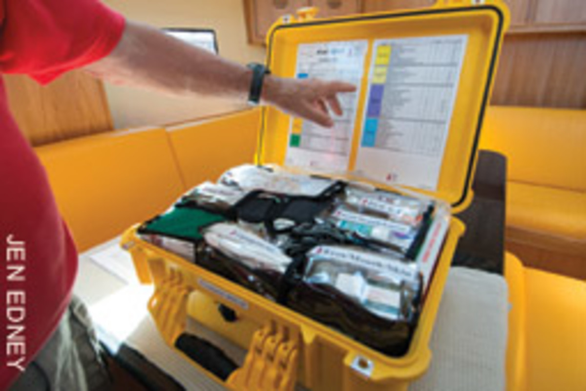 A well-stocked medical kit is a must when spending months at sea.