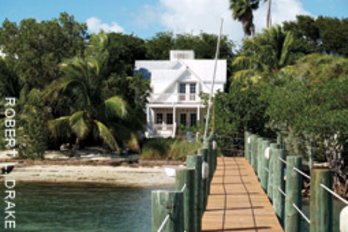 This five-bedroom home in the Florida Keys has a 300-foot dock with a boat lift and a free-form swimming pool ansd spa.