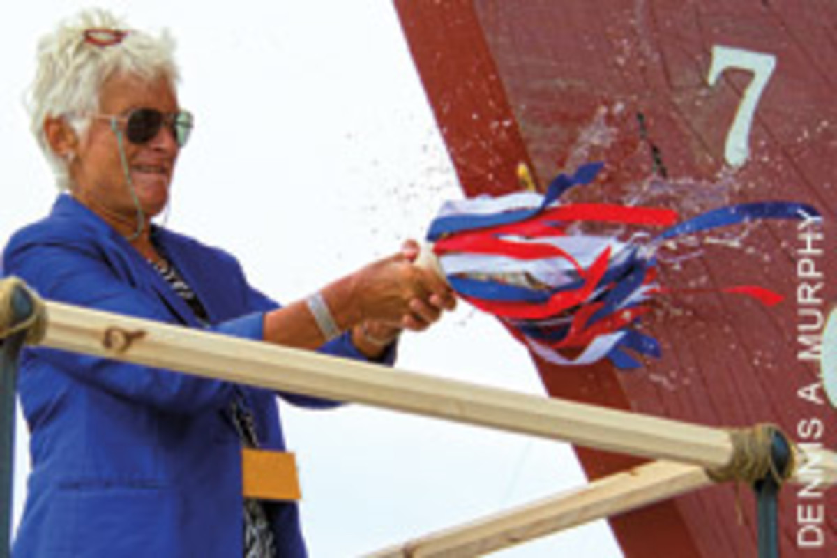 Sarah Bullard, the great-great granddaughter of Charles Wain Morgan christened the ship.