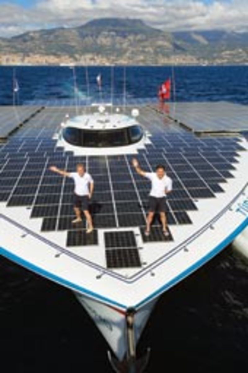 The multihull has 5,776 square feet of photovoltaic cells, and it will spend as much time as possible in equatorial regions.