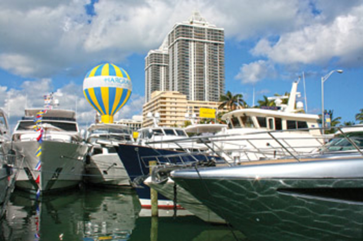 The Yachts Miami Beach show remained at its traditional location — a mile-long stretch of Indian Creek Waterway along Collins Avenue. This year's show was the largest in its 28-year history with 500 new and used yachts valued at more than $1 billion.