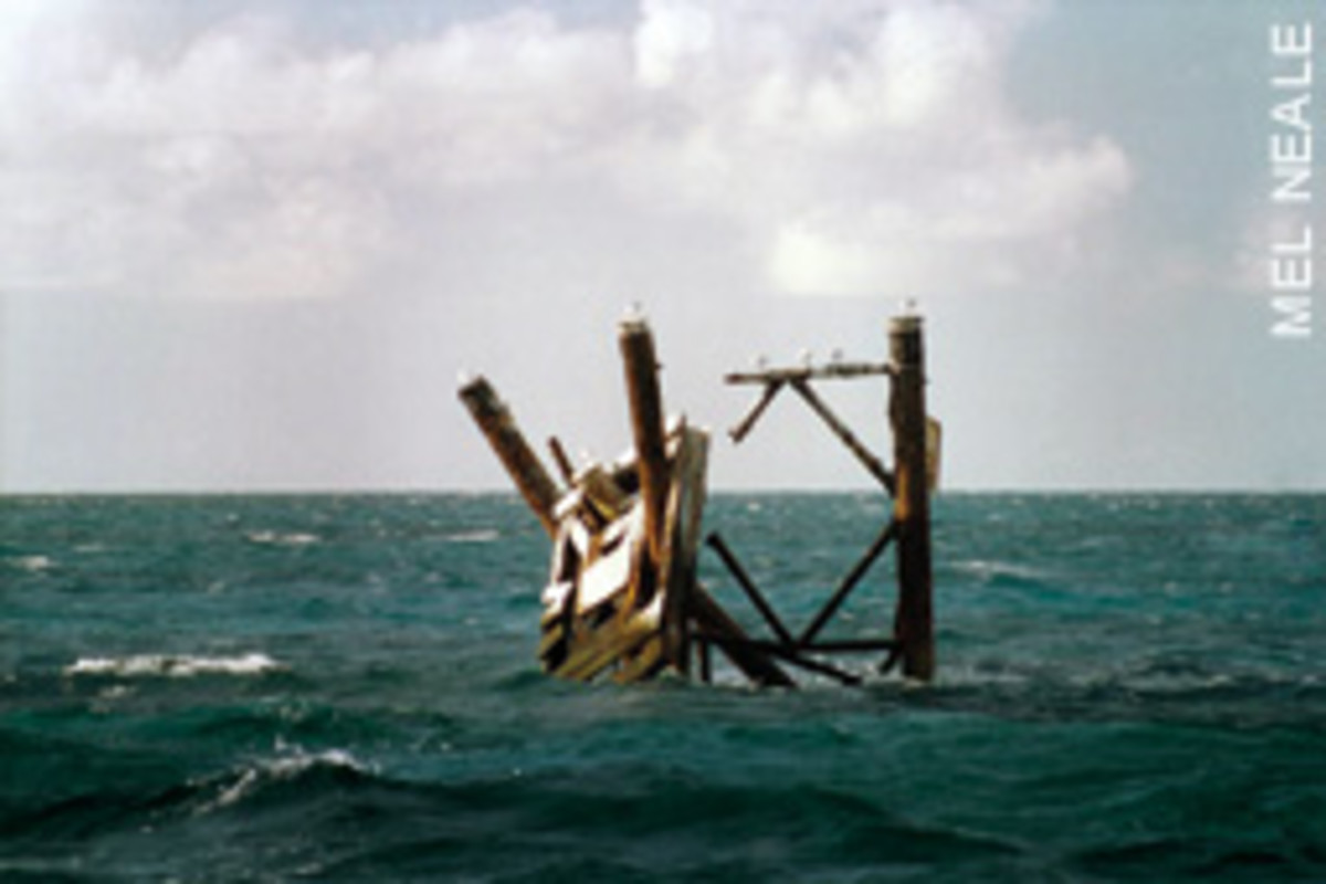 Imagine what the boat that removed Northwest Channel Light in the the Bahamas must've looked like after this accident.