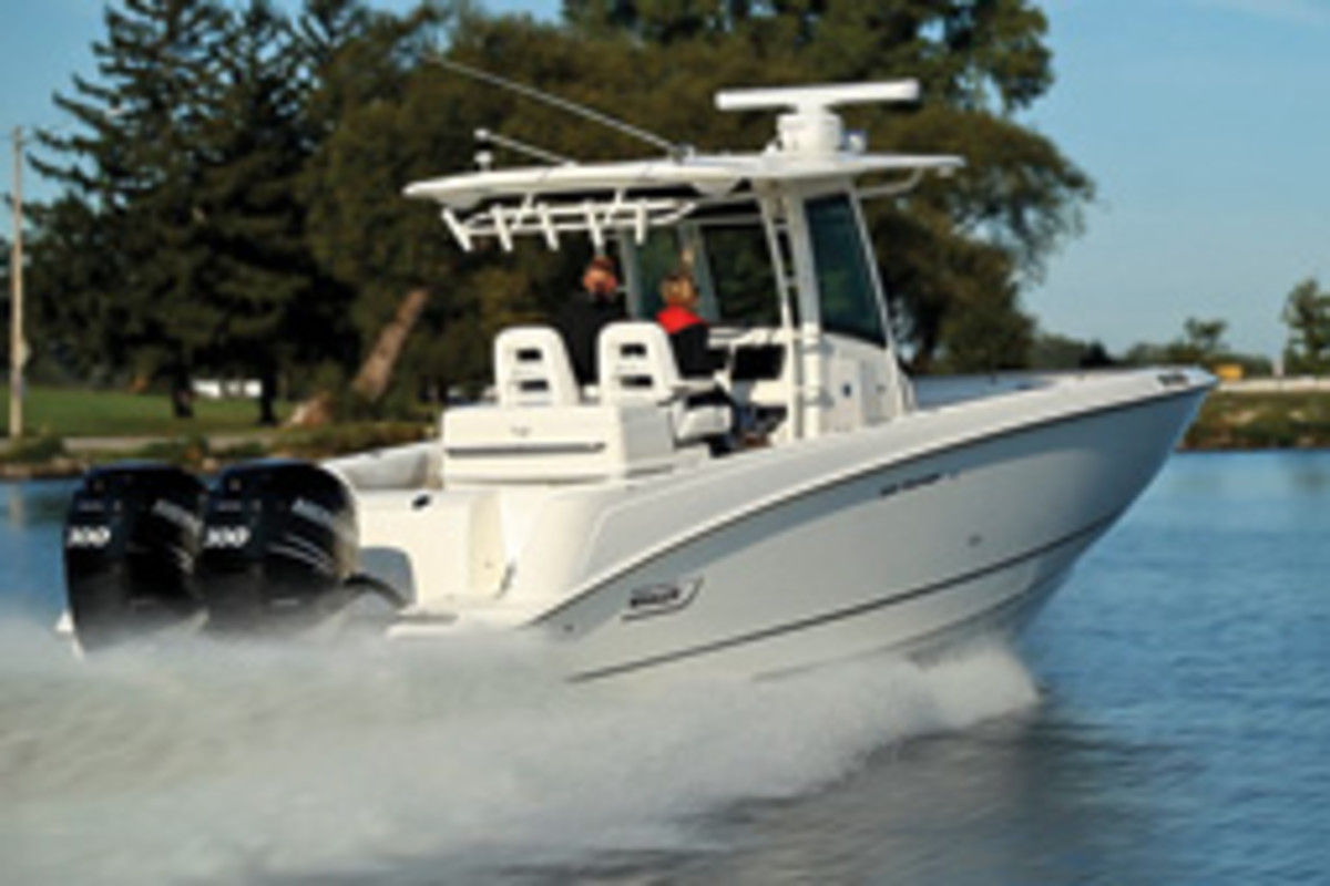 Mercury Marine has Joystick Piloting for its 250- and 300-hp Verado 4-strokes in twin, triple and quad installations.