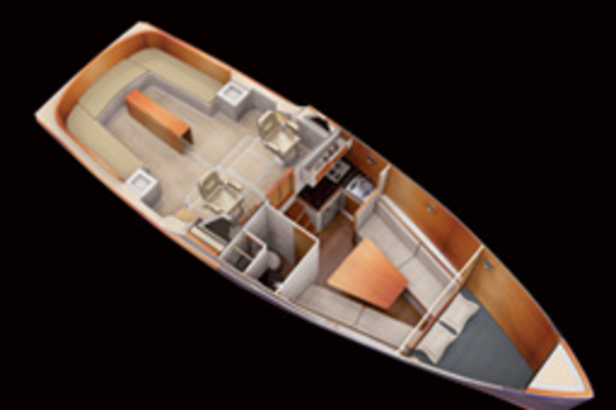 The hull is designed to minimize resistance, and the cabin allows the day cruiser to be used for weekending.