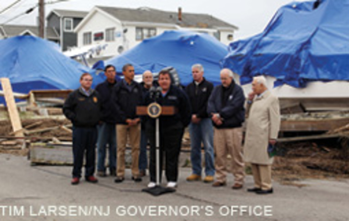 President Obama and New Jersey Gov. Chris Christie together surveyed storm damage in the Garden State.