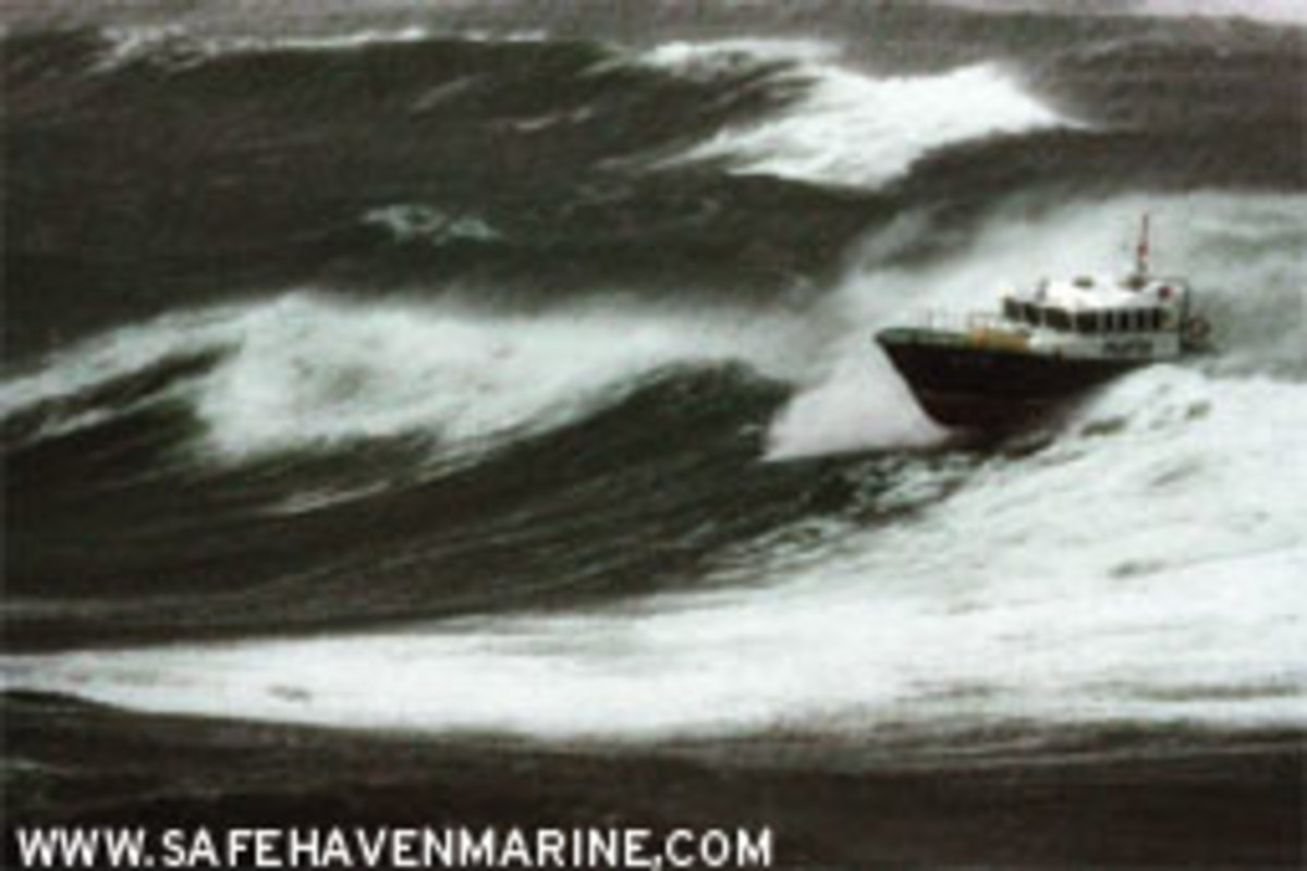Only the most seaworthy, well-found vessels, such as this pilot boat (built by Safehaven Marine), would willingly venture out in near-hurricane conditions.