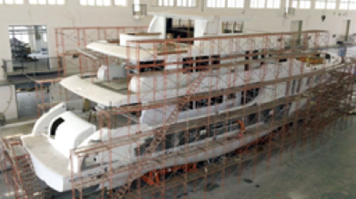 A Nordhavn 120 takes shape at the manufacturer's yard in Xiamen, China.