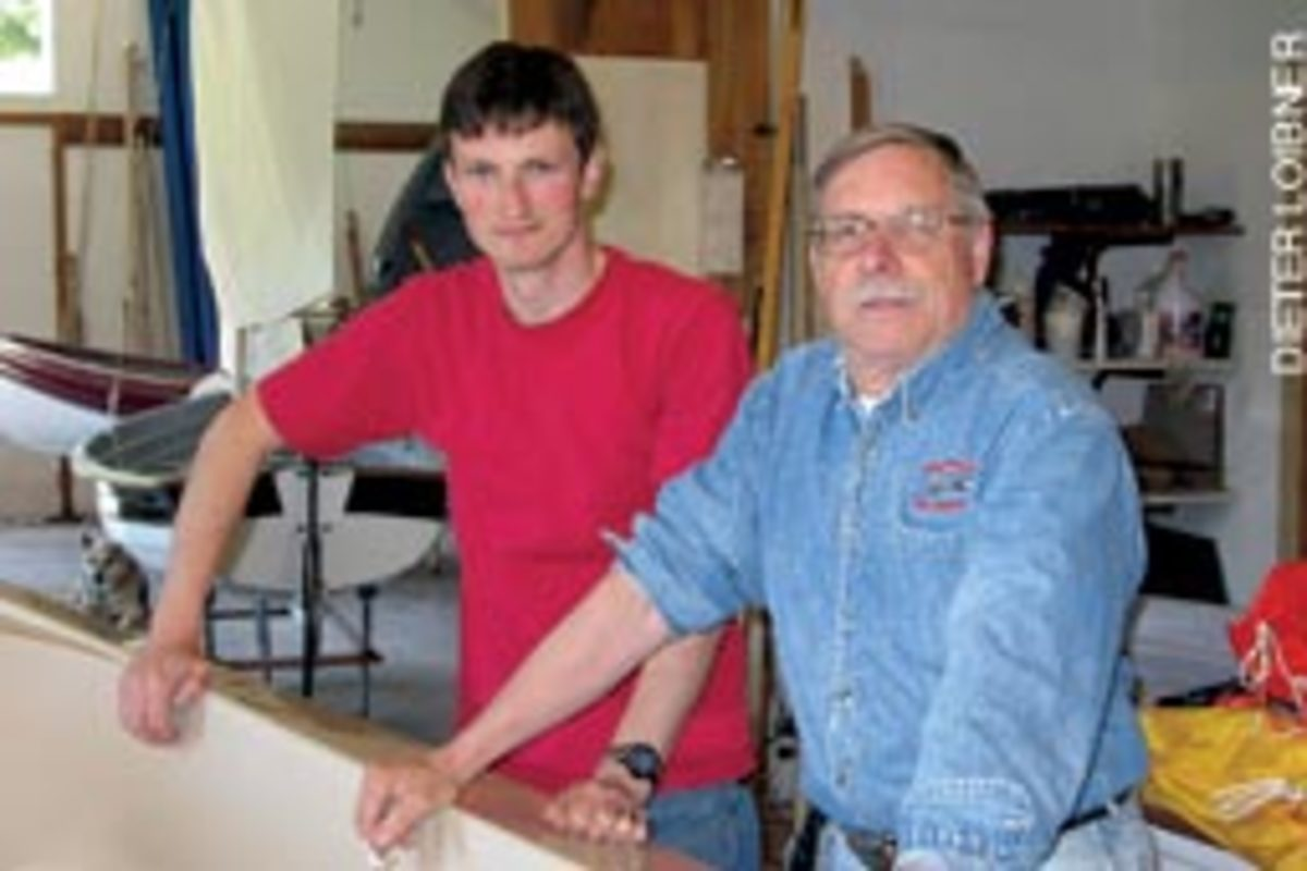 Gig Harbor Boat Works founder Robertson with his son-in-law/employee Falk Bock.