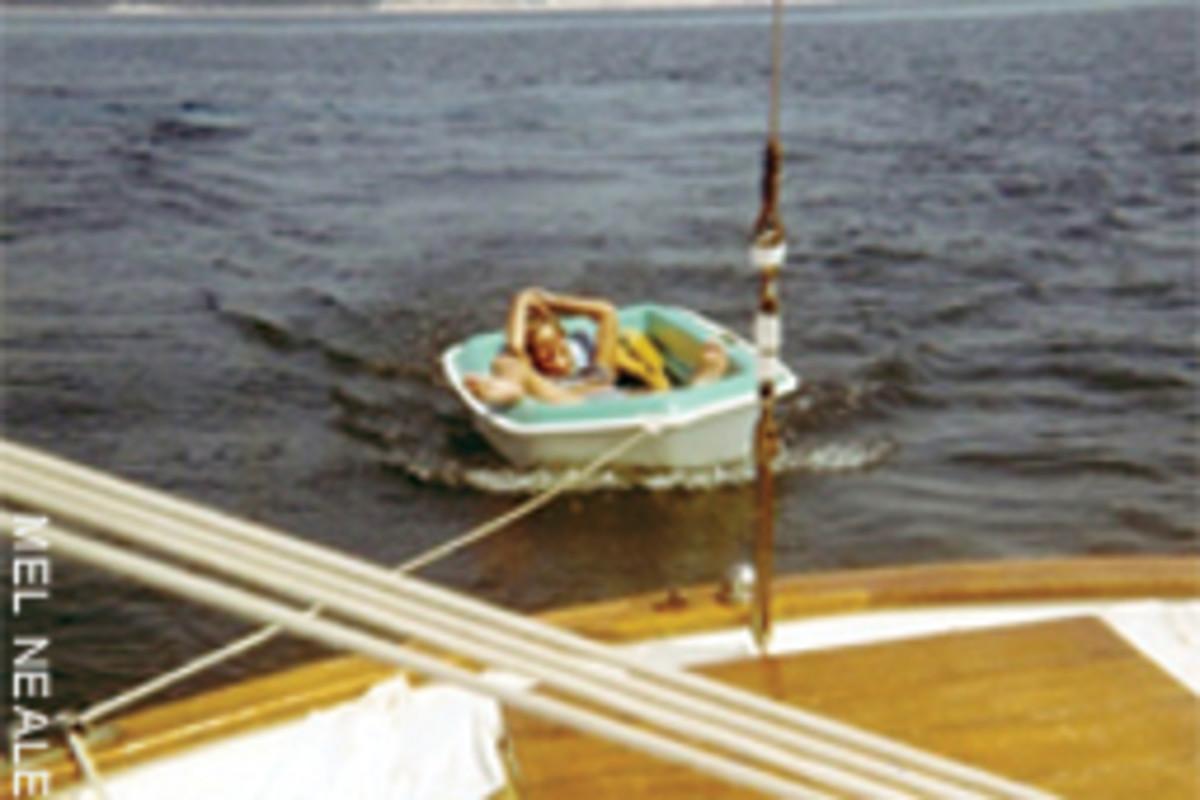 The dinghy sometimes served as a bathtub.