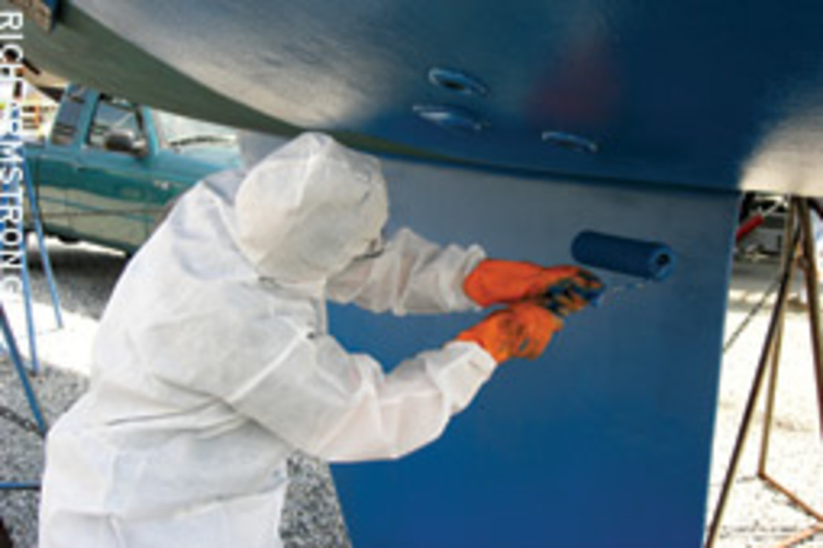 Bottom paint combats marine growth, boosting fuel efficiency.