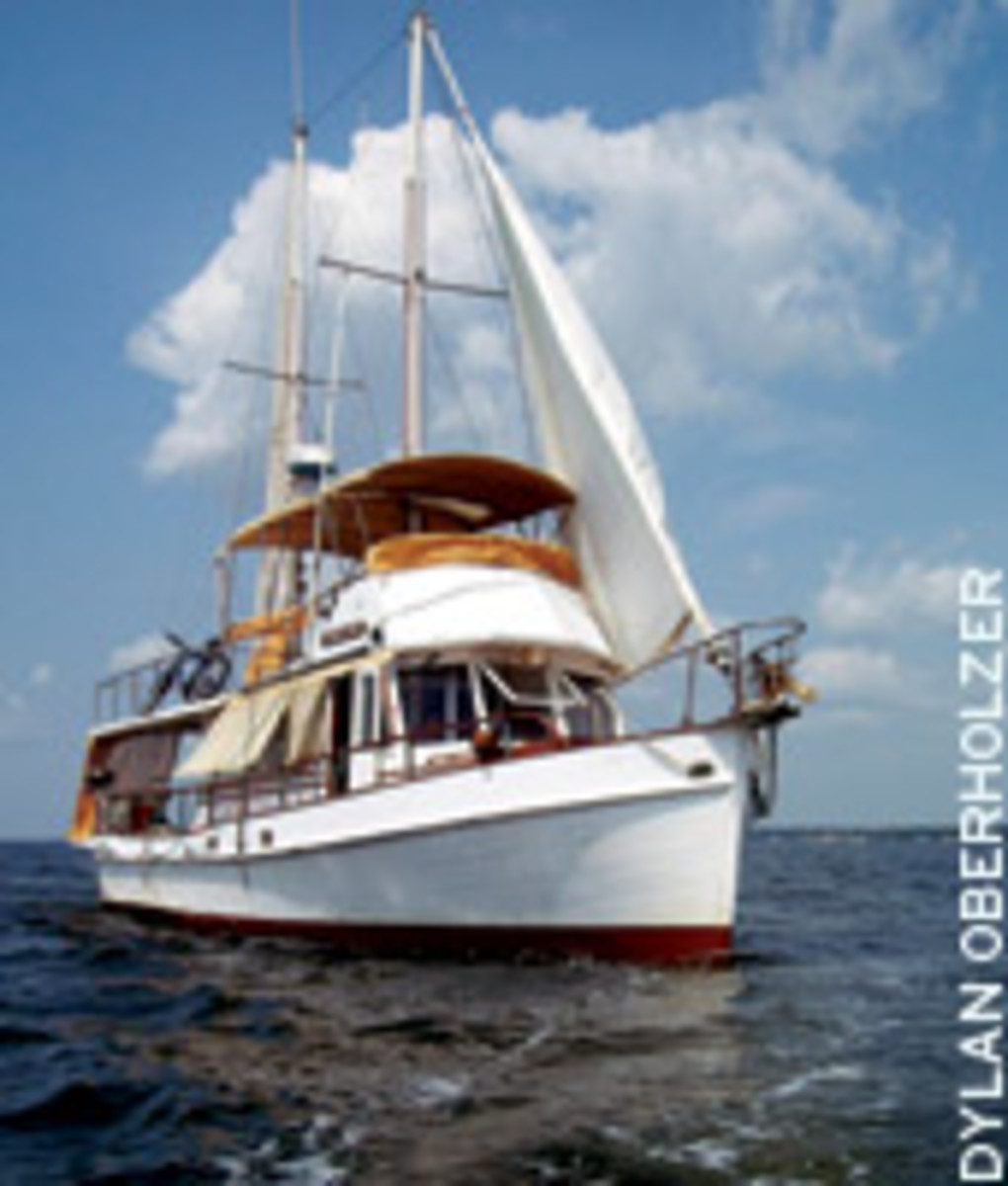 Jenny Lynn, a 1966 Grand Banks, is a trawler of a different color with her ketch rig.