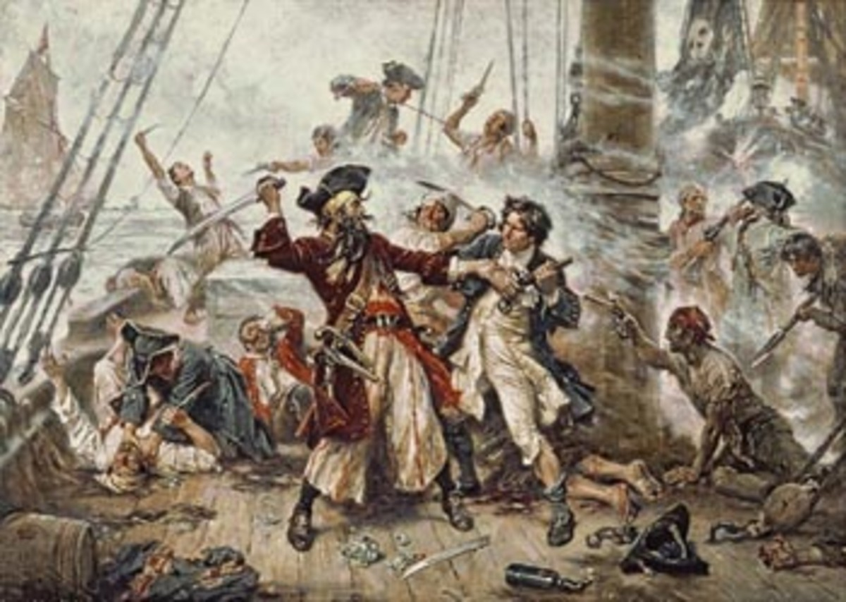 Jean Leon Gerome Ferris' Capture of the Pirate, Blackbeard, 1718, depicts the defeat of the infamous British marauder.