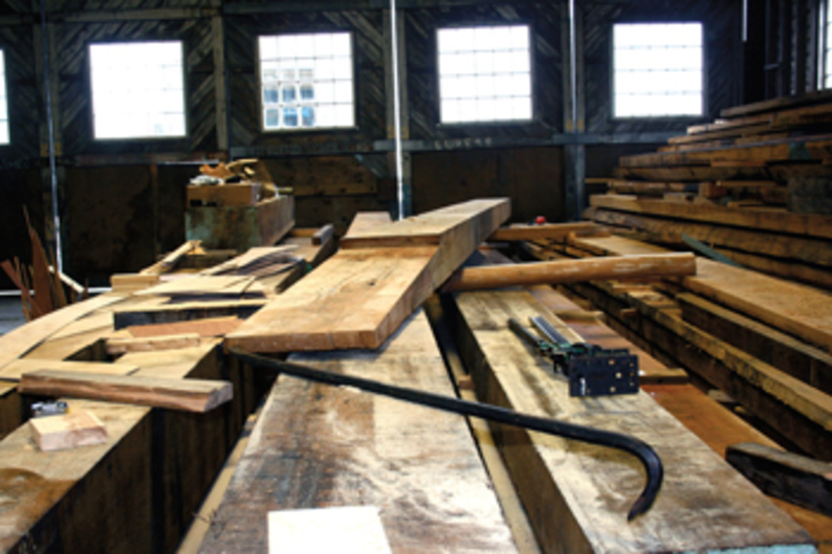 Much of the wood for the restoration — such as this piece for the keel — comes from massive American oaks and oak trees planted 100 years ago specifically for the Danish naval fleet's use.