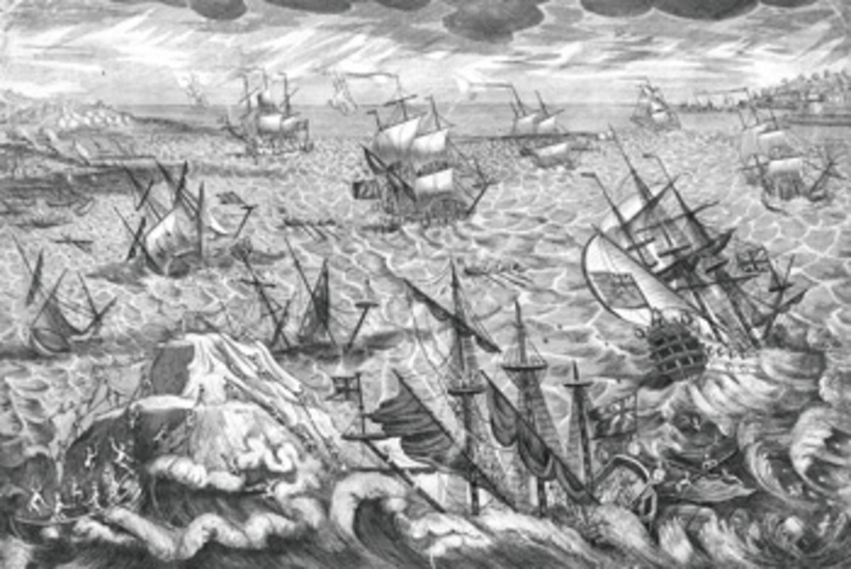 Goodwin Sands claimed many vessels during the Great Storm of 1703, including man-of-war and merchant ships, with thousands of lives lost.