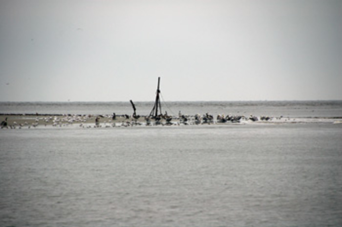 The shifting sands on the southern tip of Georgia's Jekyll Island swallowed a shrimper that grounded there.