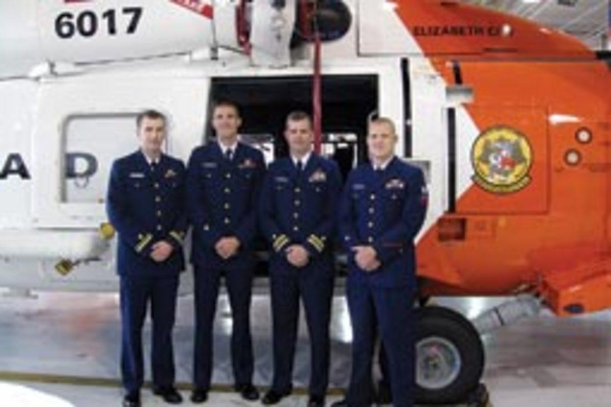 From left, co-pilot Lt. Daniel Cathell, rescue swimmer Jon Geskus, pilot Lt. Cmdr. Mark Turner and flight mechanic Jason Menezes.