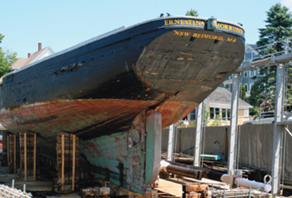 Ernestina-Morrissey's stern is worn but pretty