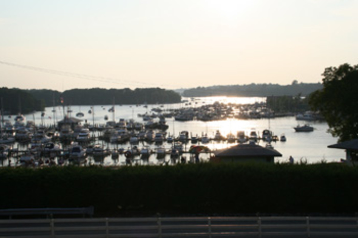 A sunset view across the Georgetown Yacht Basin hints at the idyllic beauty of this region.