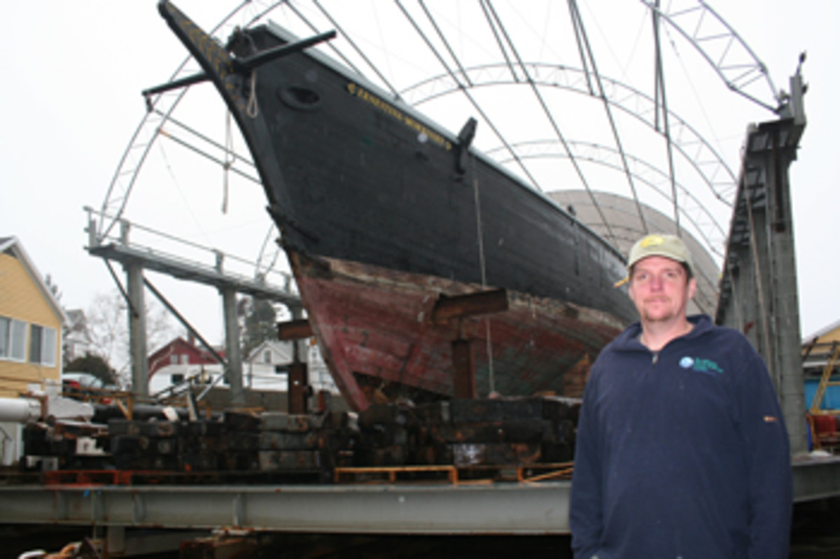 The 156-foot Ernestina-Morrissey was built in Essex, Massachusetts, in 1894. Project manager Eric Graves is overseeing her restoration at Boothbay Harbor Shipyard in Maine.