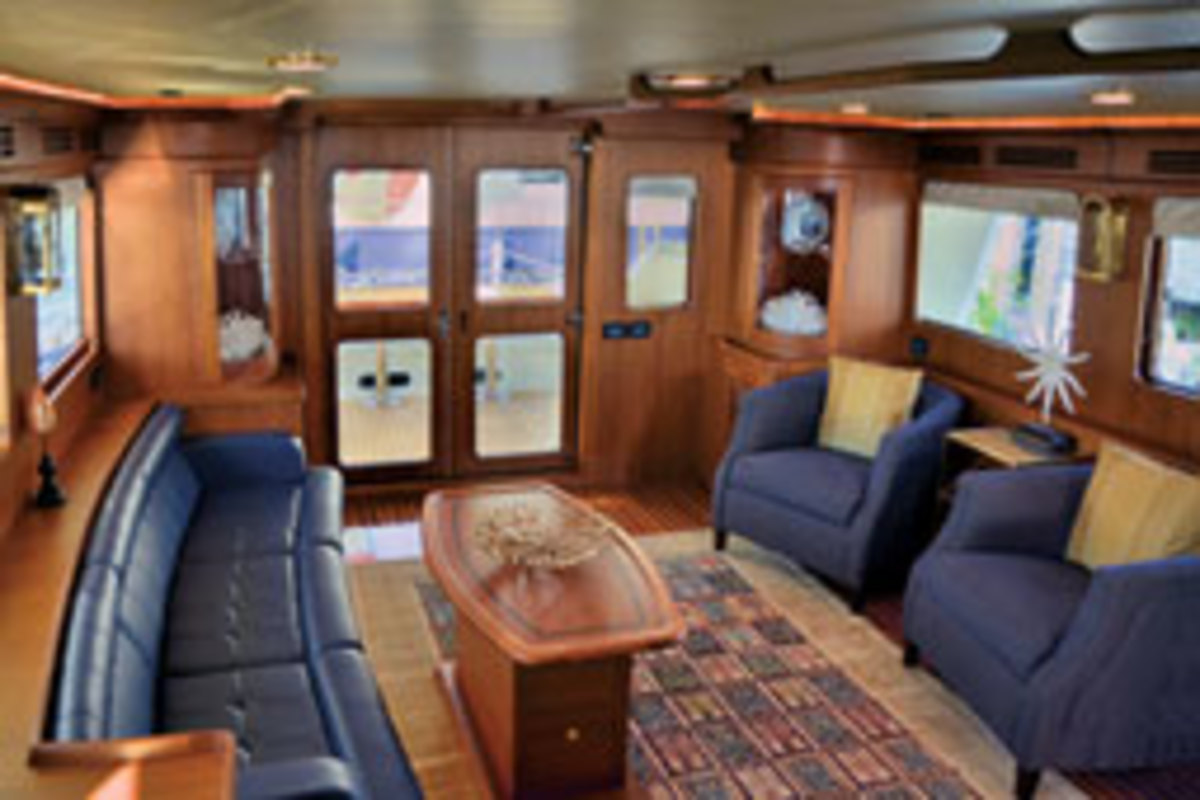 Interior of the low-profile Marlow Explorer 61E which is a blend of luxury, high-tech construction and a seakindly design.