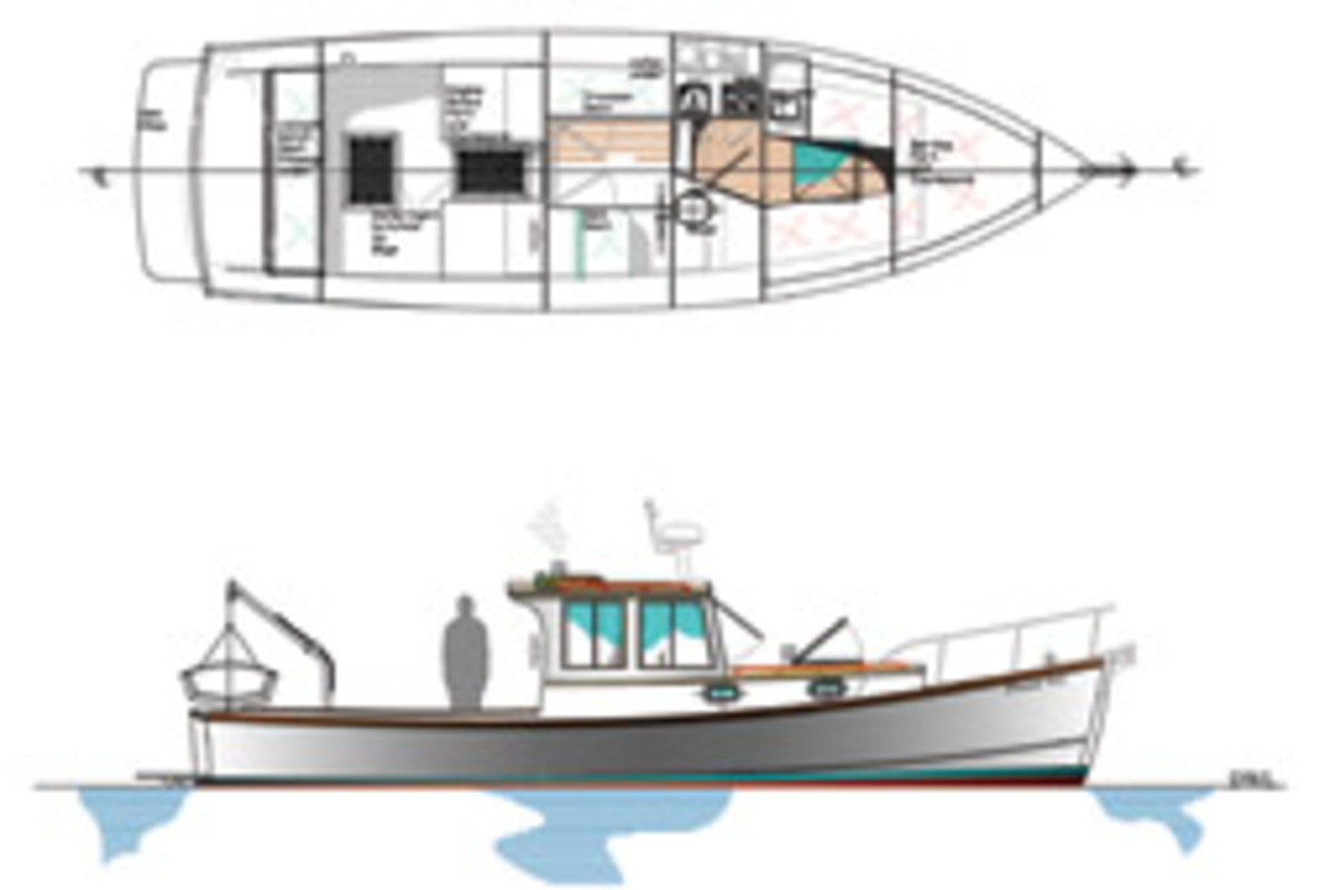 Sam Devlin designed this 33-foot lobster boat without an inverter, 110-volt shore power, or electric hot water heater.