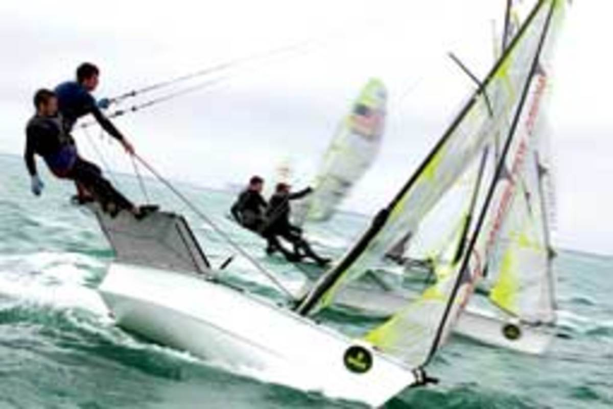 USA 607, a 49er sailed by Maxwell Fraser and Daniel Morris