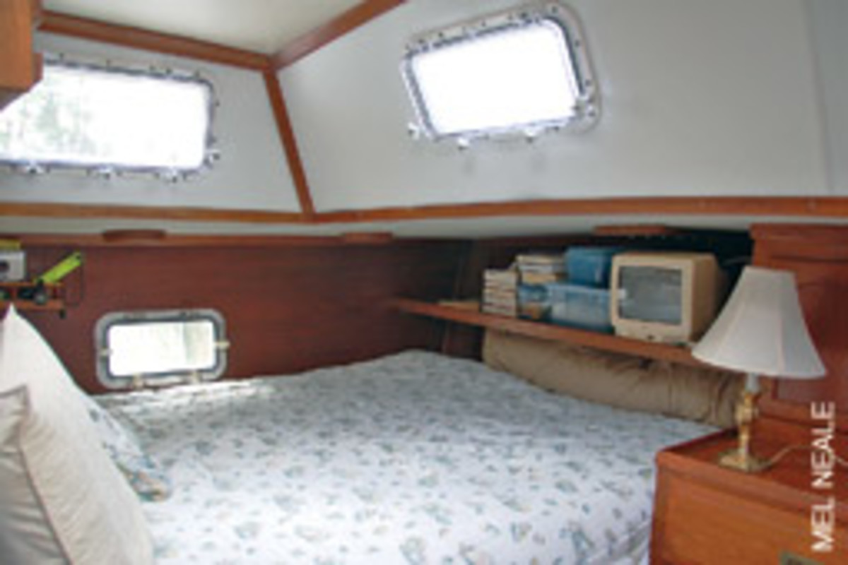 A JOB WELL DONE: A new mattress and new portholes make for a bright cabin with no leaks.