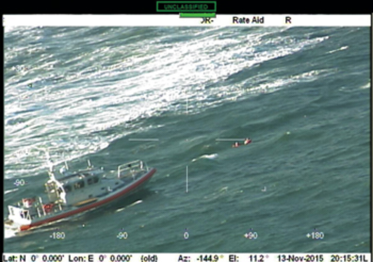 The two were pulled from the water just 20 minutes after placing the mayday call.