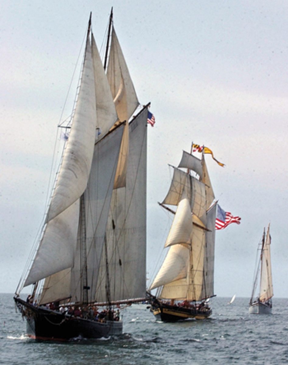 These historic photos from the Monroe Grey Barnard Arctic expedition show crew pulling the schooner Effie M. Morrissey out of the ice. Here, Ernestina leads the Pride of Baltimore in a Gloucester schooner race.