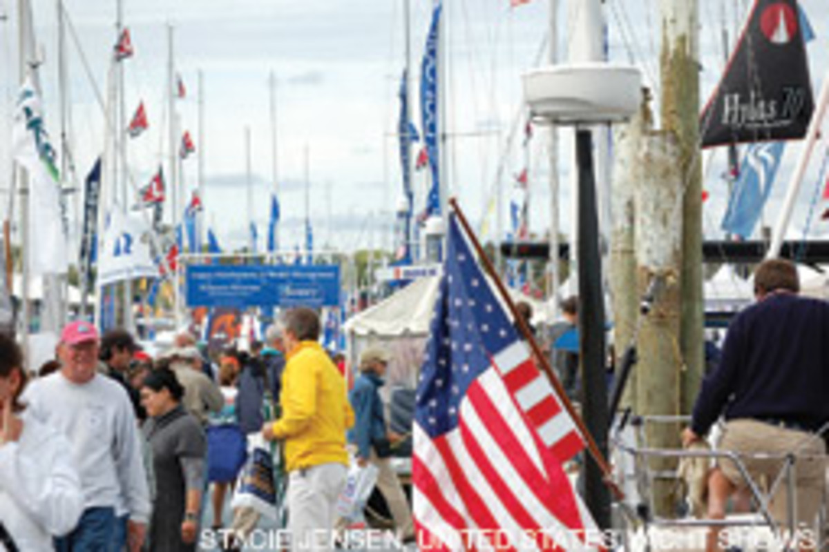 The U.S. Sailboat Show in Annapolis had sunny skies.