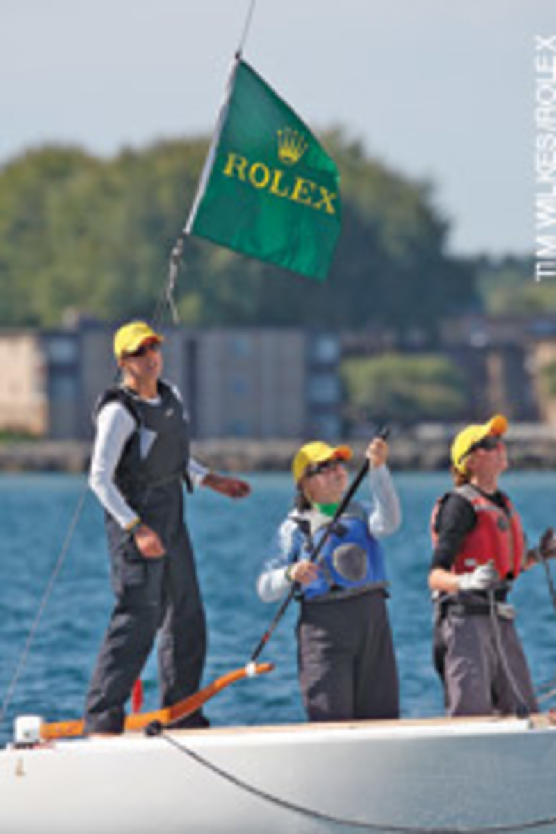 US Sailing's 2008 Rolex Yachtswoman of the Year Anna Tunnicliffe coaches the next generation at Rochester (N.Y.) Yacht Club.