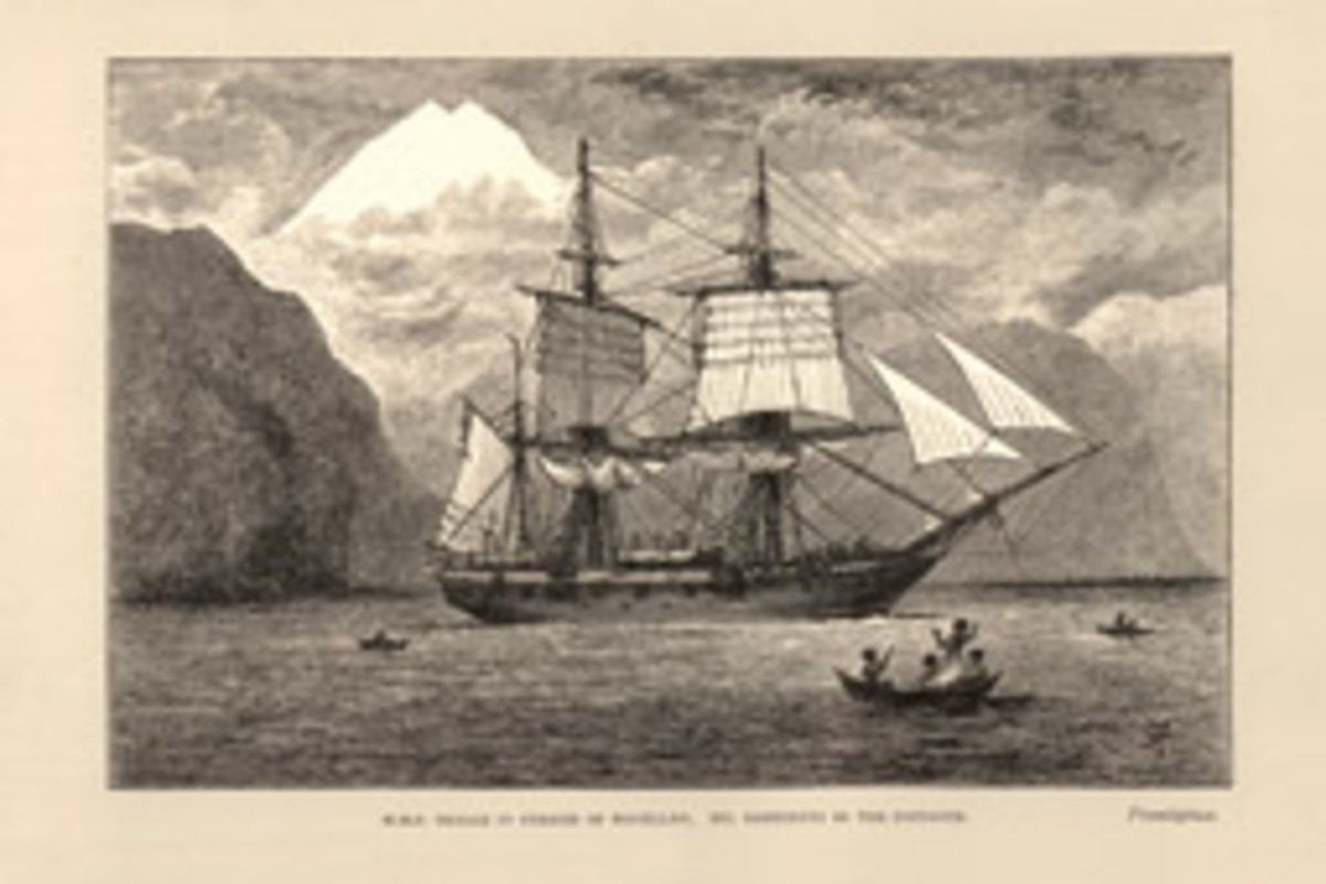 A depiction of Charles Darwin's HMS Beagle in the Straits of Magellan, with Mt. Sarmiento in the distance.