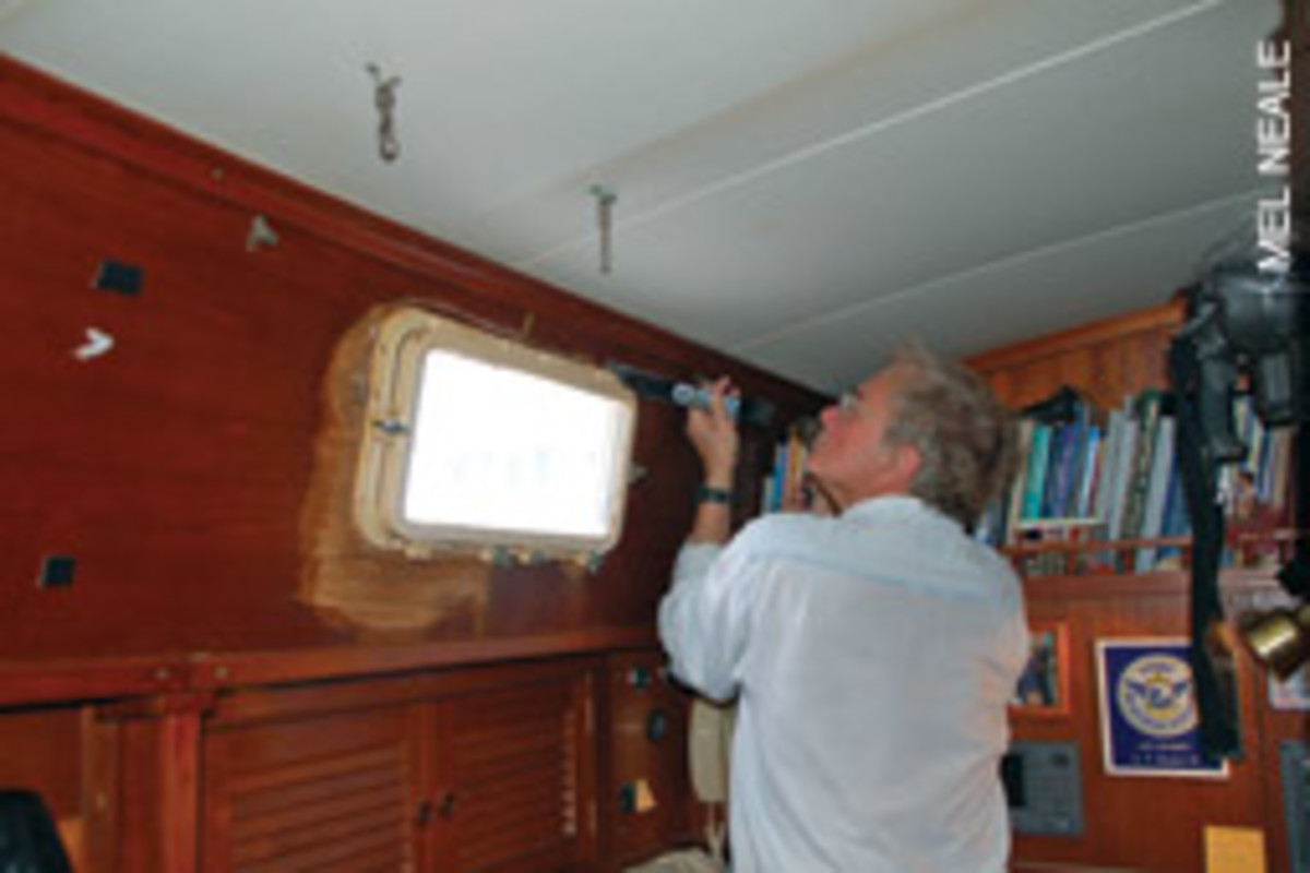Bob Touton gave us numerous jewels of advice, the most important of which was to celebrate each time you got an old porthole out.