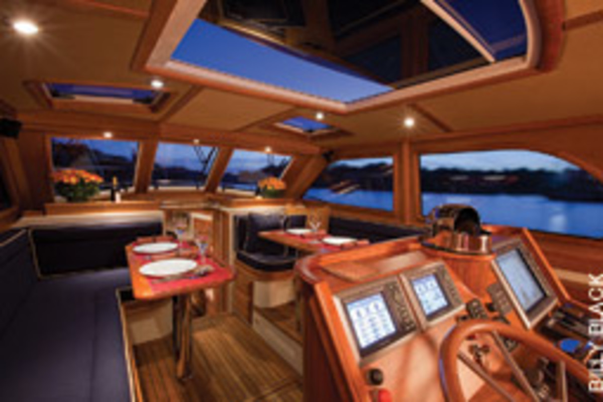 The helm of the new Hood 43 is aft and on centerline in the saloon.
