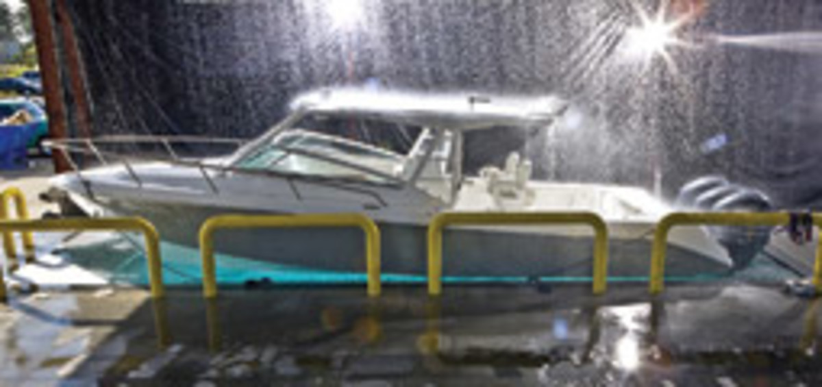 Benefits of production boats, like this Everglades 350LX, include consistent quality, a lower price tag compared to a custom build, and the support of a dealer network.