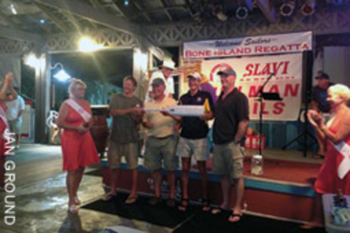 The Santa Rita crew - (from left) Jeffrey Drews, Keith Ground, Roy Rogers and Dwayne Hill - received an award for seamanship and sportsmanship for rescuing the sailors aboard Leila B.